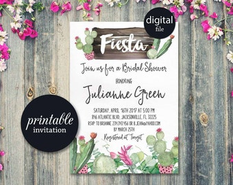 Fiesta Bridal Shower Invitation Printable, Cactus Bridal Shower Invitation, Mexican Bridal Shower Invite, Succulent Bridal Shower Invitation