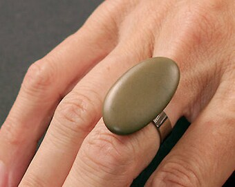Natural stone ring and non-allergenic stainless steel # 05/17-04