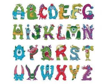 Monster Alphabet Combo Counted Cross Stitch PDF Pattern