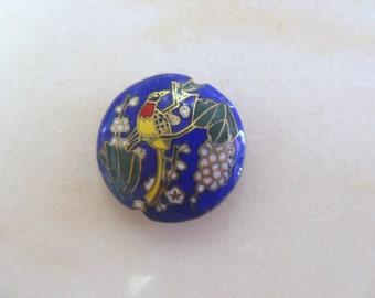 Vintage Blue Cloisonne Puff Pendant