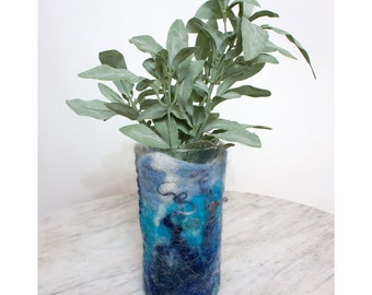 Blue Wet Felted Wool Vase Cover