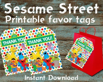 Sesame Street Printable Favor Tags, Sesame Street Gift Tags, Sesame Street Gift Tags, Sesame Street Tags, Sesame Street Birthday Party