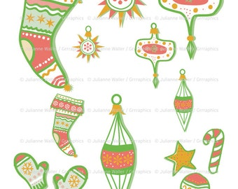 Retro Christmas Collage Scrapbooking Printable Sheet: Stocking, mittens, decorations and cookies