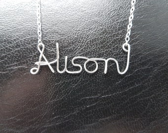 Name Pendant Alison Sterling Silver Custom Wire Word  Necklace Designer in UK