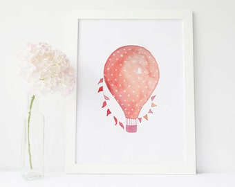 Hot Air Balloon Nursery Watercolor Print, Children's Wall Art, balloon decorations Hot Air Balloon print, Printable painting Balloon poster