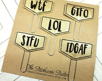 Adult Slang Planner Clip Set - Snarky Planner Clip - Paperclip - Bookmark - Set of 5 - Pick Your Color!
