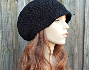 Womens Crochet Hat Womens Hat Newsboy Hat - Black Newsboy Hat - Womens Accessories Black Hat - Gift For Her