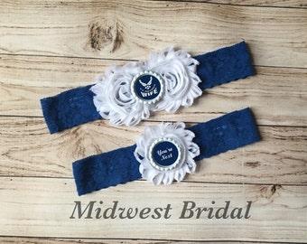 Air Force Wife Custom Blue Lace Wedding Garter USAF