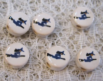 Witch Beads in Flight on a Broom Stick 10 Round Peruvian Ceramic Large Hole Beads 9mm