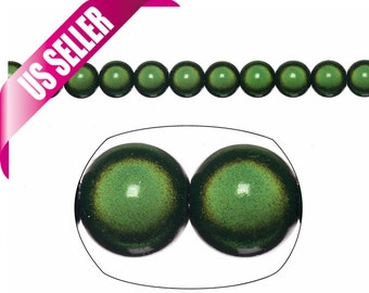 dark green round Miracle beads 8mm lacquer glow beads sold per 72pcs