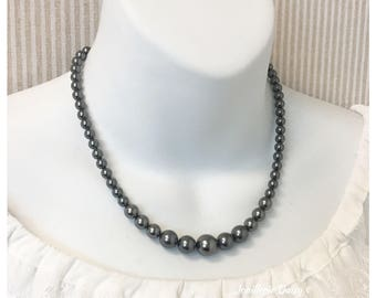 Bridesmaid Gift Bridesmaid Necklace Dark Grey Necklace Bridal Party Jewelry Gift for Mother of Bride Jewelry Wedding Jewelry Idea