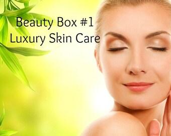 Skin Care BEAUTY BOX #1 - Mini Facial Beauty Box - Skin Care Facial Products - Cleanser Toner Mask Moisturizer - Eye Cream - Lip Scrub Gloss