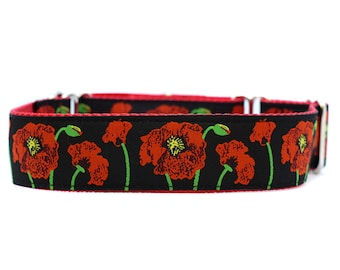 Wide 1 1/2 inch Adjustable Buckle or Martingale Dog Collar in Poppies