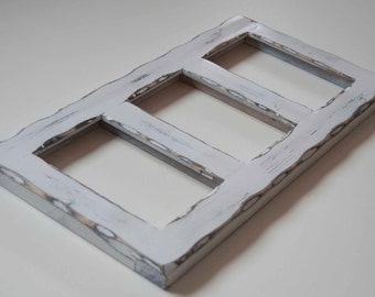 Collage Picture Frame - MULTI 3 Opening 4x6 distressed pine collage picture frame with the 4x6's in the portrait position...white...HANDMADE