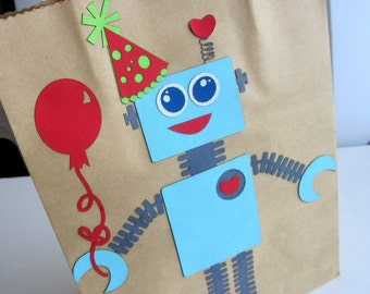 ROBOT Party Favor Bag, Birthday GIFT bag, Gift wrapping Packing Bag A420
