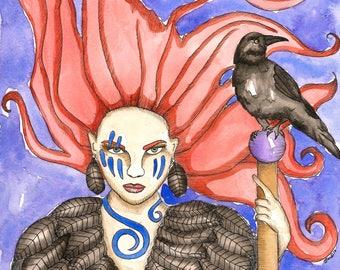 Goddess Art Celtic Goddess The Morrigan Original Watercolor Painting Pagan Witch Dark Goddess Divine Sacred Feminine Fantasy Spiritual Art