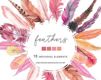 FLASH SALE Watercolor Blush Pink Orange Feather Clipart Separate Elements Hand Painted Feather Clip Art Commercial Use | E117 Feathers