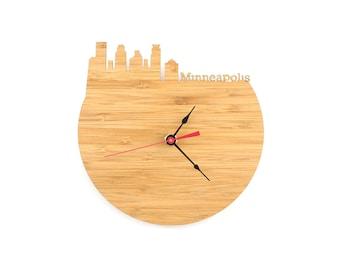 Minneapolis Modern Wall Clock - Large Wall Clock - Minnesota Clock - Walnut Clock