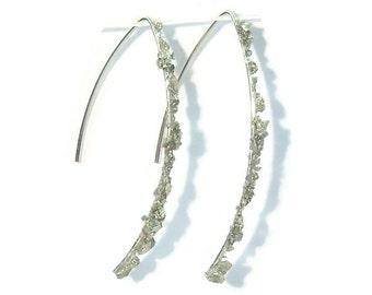 Crushed Pyrite Sterling Silver Threader Earrings