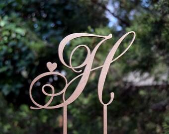 Cake Topper Personalized Monogram Keepcake Wedding Cake Topper Rustic Wedding Cake topper