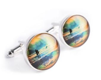 Walk In The Water Cufflinks - beach inspired mens jewelry, mens coastal cufflink accessories, CC004