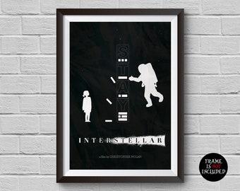 Interstellar Movie Print Minimalist Vintage Poster Christopher Nolan Space Universe Film Planets Artwork Wall Art Home Decor Wall Hanging