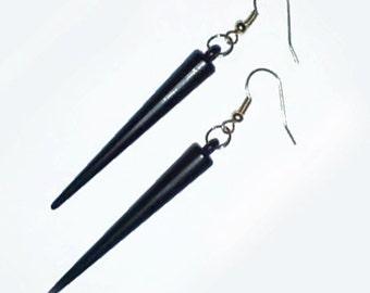 Gothic Black Spike Earrings , Black Gold Spike Earrings , Black Earrings , Gold Earrings , Gothic Earrings , Handmade Jewelry , Goth Gift