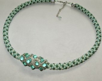 Celadon Bubbles Kumihimo Necklace