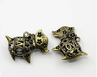 Love dog pendant antique bronze