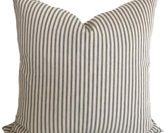 Blue pillow cover, Blue throw pillow, Decorative pillow, Accent pillow, Blue ticking pillow, Ticking stripe pillow, 18x18, 20x20