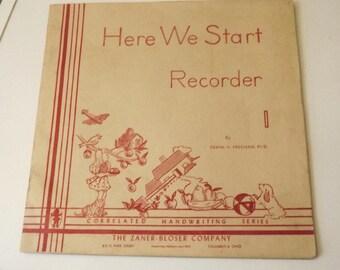 1957 Handwriting Lesson Book for Children