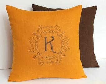 Mustard Monogram pillow Personalized Linen pillow Personalized pillow Family name pillow