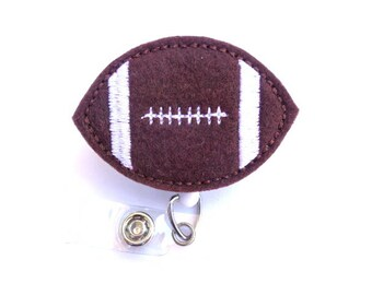 Fun Badge Reel ID Holder Retractable - Game Day - Brown felt football - Nurse badge reel RN office teacher coach medical staff