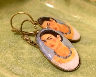 Frida Kahlo Dangle Earrings Frida Kahlo with Necklace Painting Gift for Art Lover Gift for Art Teacher