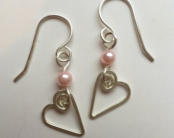 Heart Earrings, Sterling Silver with pink bead