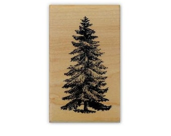 med. Pine Tree mounted rubber stamp winter holiday, Christmas, nature, scene building, Sweet Grass Stamps No.19