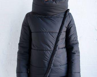 Black Puffer Jacket / Winter Jacket / Stylish Coat / High Collar Jacket / Asymmetric Puffer / Designer Jacket / Marcellamoda - MC0979