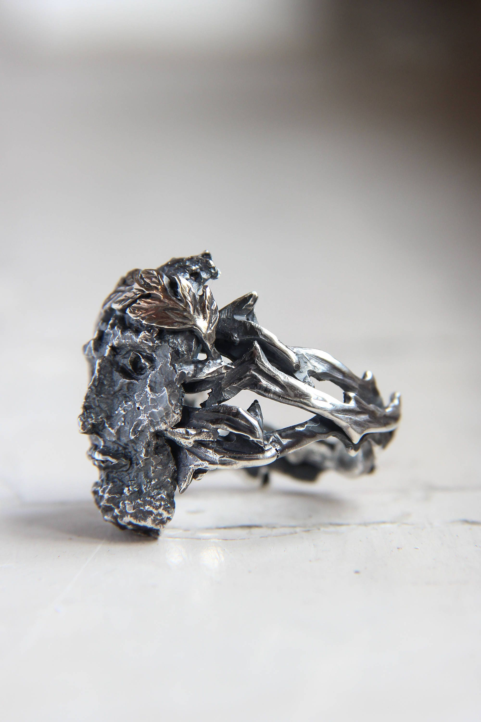 Ancient god ring, face ring, mens ring, man ring, rough ring, unique ...