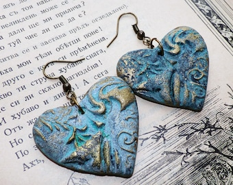 Brass and patina heart earrings