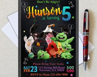 Angry Birds Invitation/Angry Birds Birthday Party/Angry Birds Party/Angry Birds Personalize/Angry Birds Chalkboard Birthday Invitation