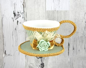 Blue-Green and Cream Striped with Gold with Mint Rose and Lace Tea Cup Fascinator Hat, Alice in Wonderland Mad Hatter Tea Party, Derby Hat