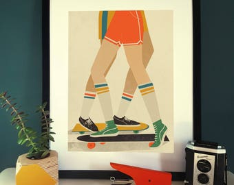 Skateboarding 1970s Illustration Poster A3