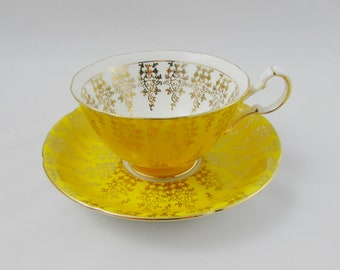 Royal Grafton Yellow Tea Cup and Saucer with Gold Decor, Vintage Bone China
