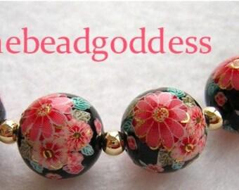 New Design 5 Beautiful Japanese Tensha Beads CHERRY BLOSSOMS BLACK 12mm