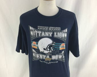 Vintage 90s Penn State Nittany Lions Tostitos Fiesta Bowl 1997 Navy T shirt Check measurements
