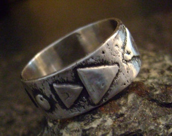 NATIVE - Tribal Ring, Sun Arrow Ring, Reticulated Silver, Native Ring, Tribal Jewelry, Unisex Ring, Artisan Jewelry, Made in Canada, NSR30
