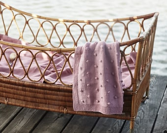 Vintage rattan baby bed
