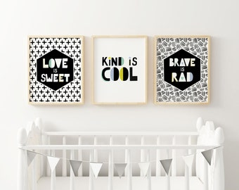Scandinavian Nursery - Black and White Nursery- Kind is Cool - Boys Wall Prints - Modern Nursery Decor, boy nursery