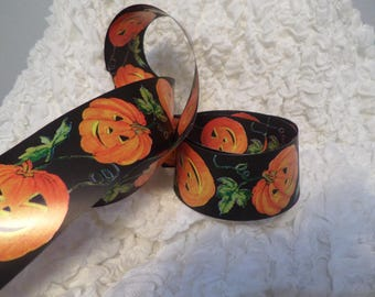 "Halloween Ribbon Jack O Lantern Pumpkin 2 1/4"" Double Sided By the Yard"