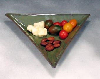 Green 8 Inch Triangle Ceramic Plate or Tray Hand Built Pottery Serving Dish or Tapas Dish Sushi Dish Salad Plate